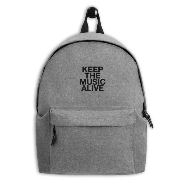 KEEP THE MUSIC ALIVE Embroidered Backpack