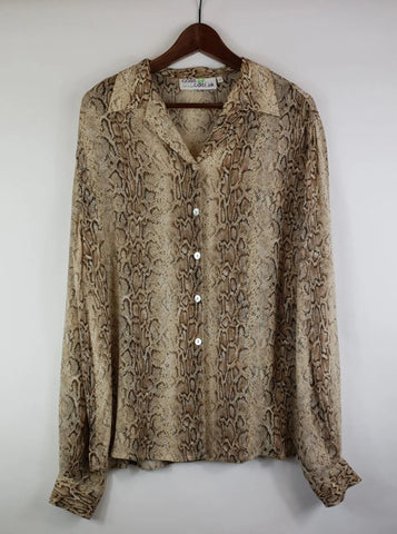 Blusa 90's Animal Print Semitransparente Talla M