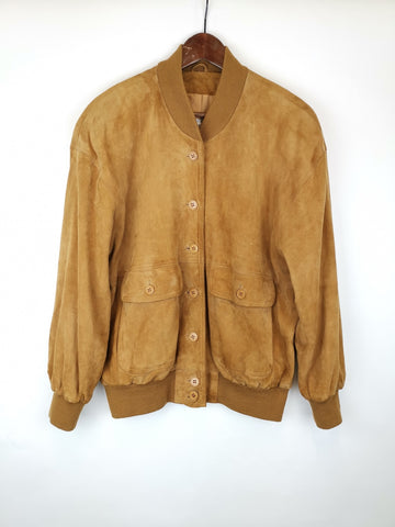 Bomber Ante Cámel / Suede Leather Jacket / Talla M