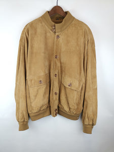 Bomber Ante Camel Botones Resina / Suede Leather Jacket / Talla M-L