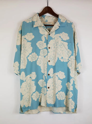Camisa Hawaii Seda Azul XL
