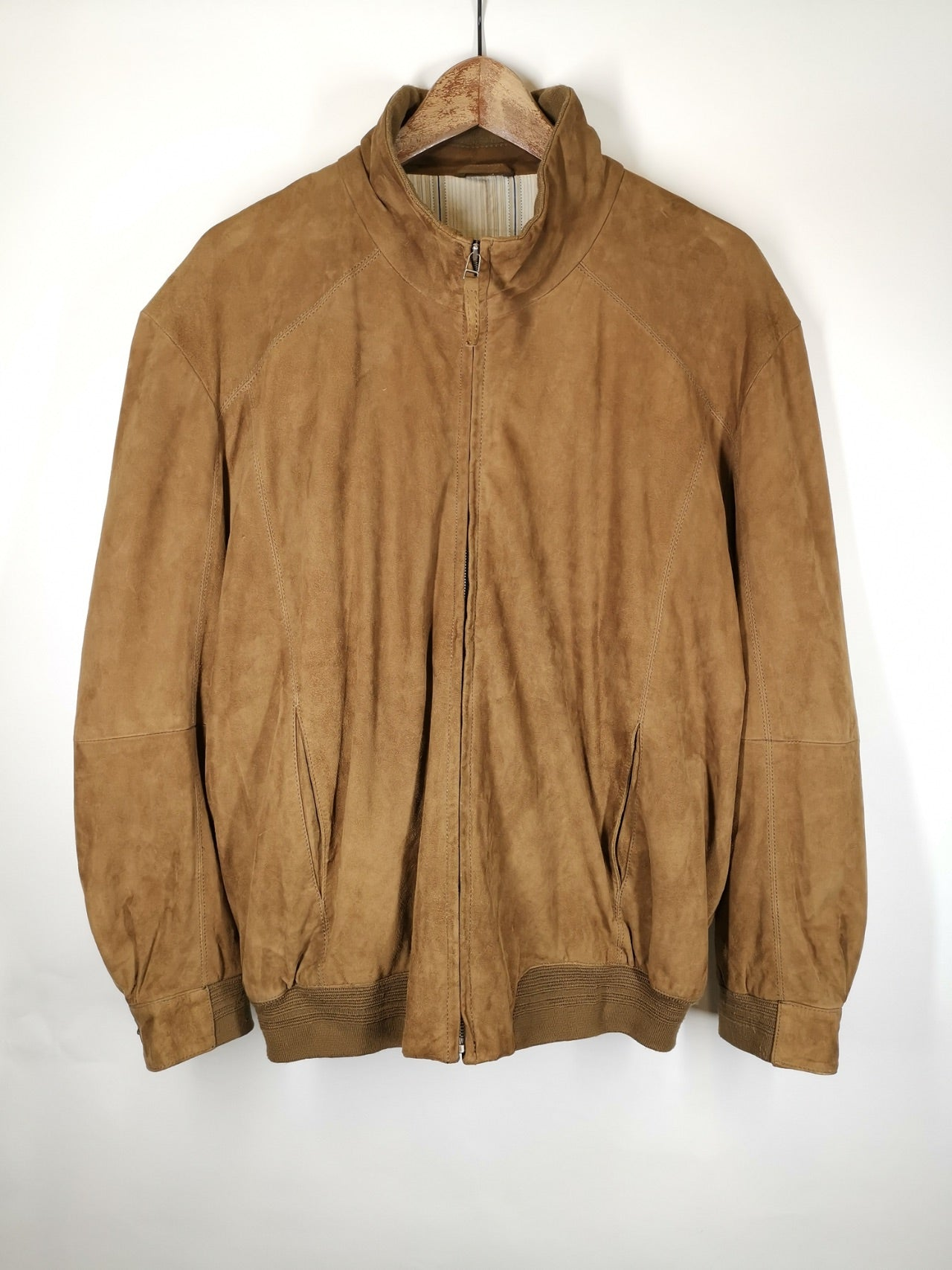 Bomber Ante Marrón Caqui / Suede Leather Jacket / Talla S-M