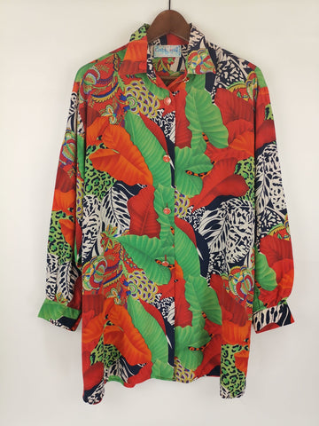 Blusa Seda Jungle Print / años 90´s / Talla XL