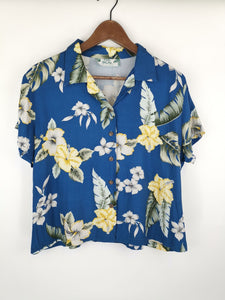 Blusa Made in Hawaii Azul y Flores Amarillas / Talla S