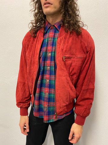 Bomber Ante Roja/ Suede Leather Jacket