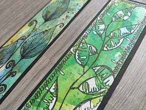 Handmade bookmarks with doodles, set 4