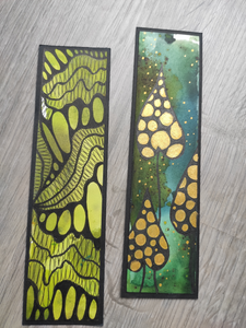 Handmade bookmarks with doodles, set 6