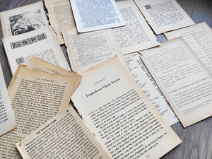 Set of vintage papers/ ephemera from old books: texts in English, German, Greek, Russian, French with drawings, for junk journal