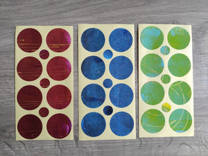 Set of handmade round stickers for mixed media/ scrapbooking/ paper layouts