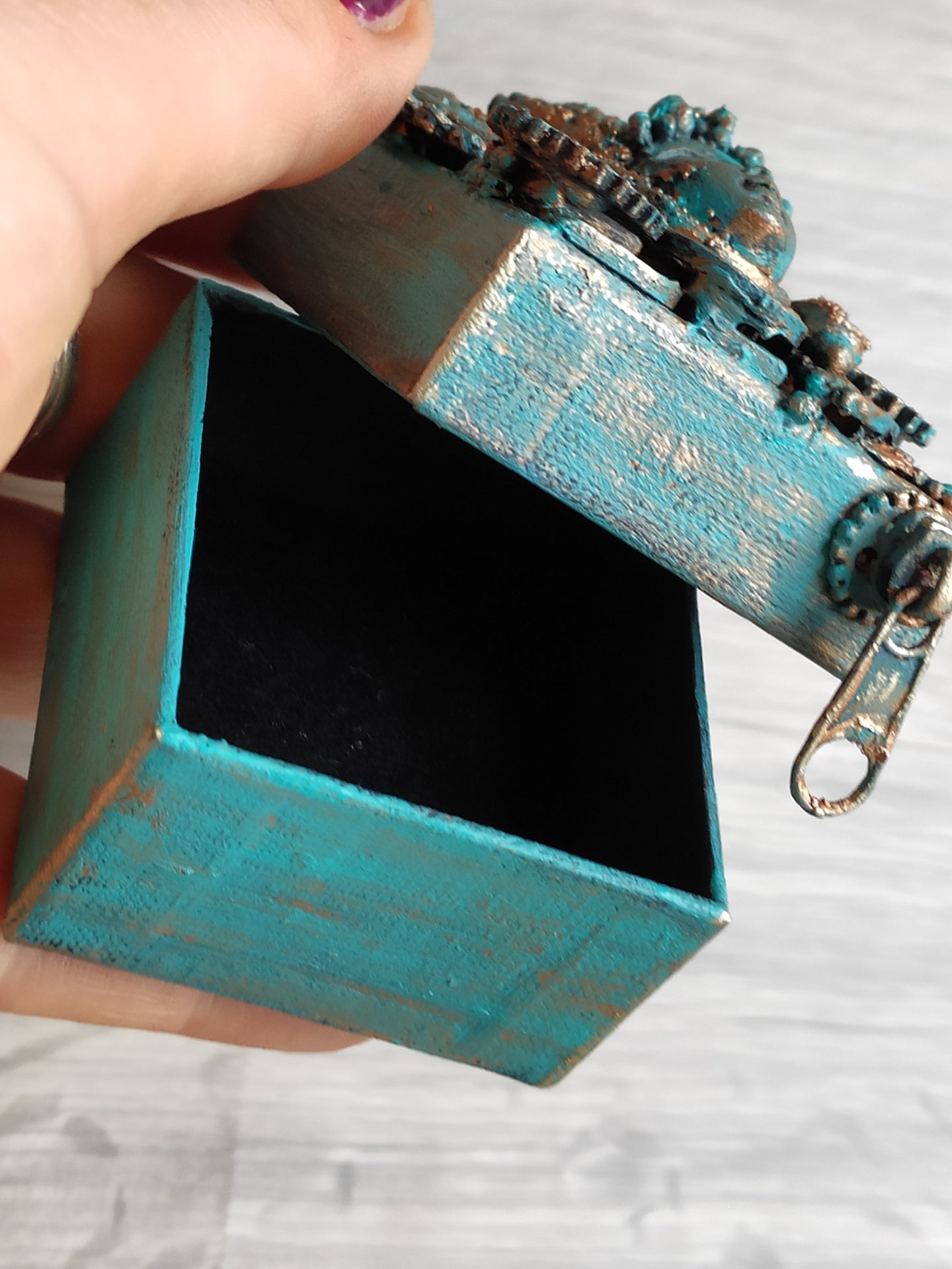 Tiny blue steampunk/ industrial box