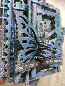 Mixed media decorative canvas/ industrial style butterfly canvas