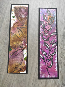 Handmade bookmarks with doodles, set 9