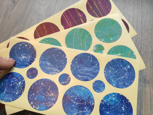 Set of handmade  round stickers for mixed media/ scrapbooking/paper layouts