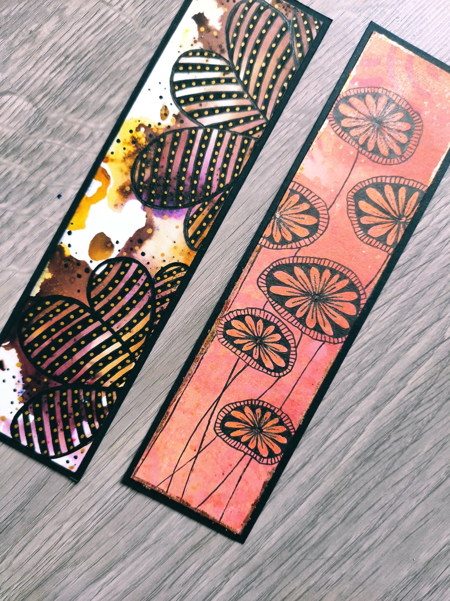 Handmade bookmarks with doodles, set 13