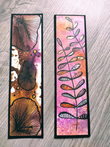 Handmade bookmarks with doodles, set 16