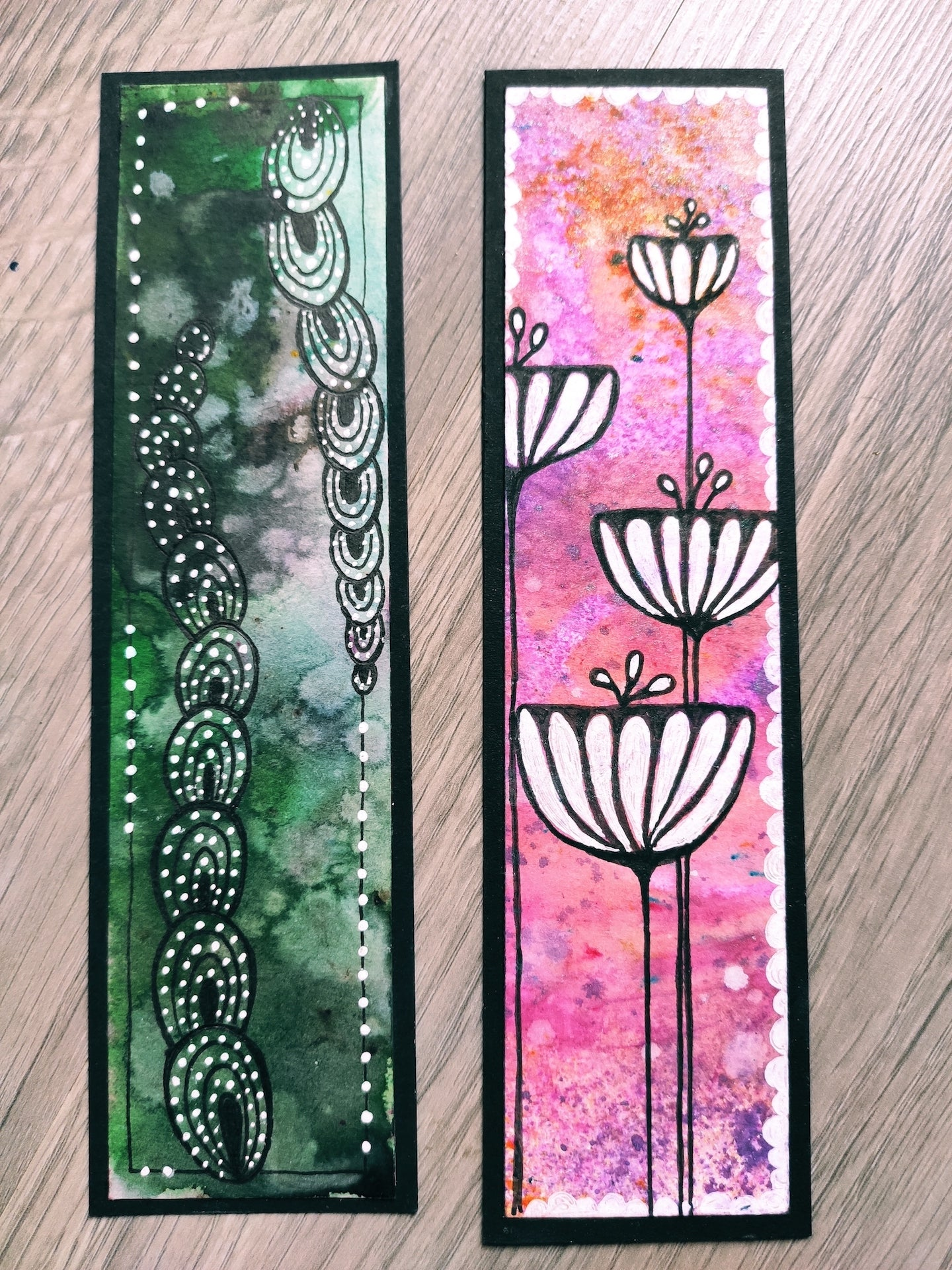 Handmade bookmarks with doodles, set 17