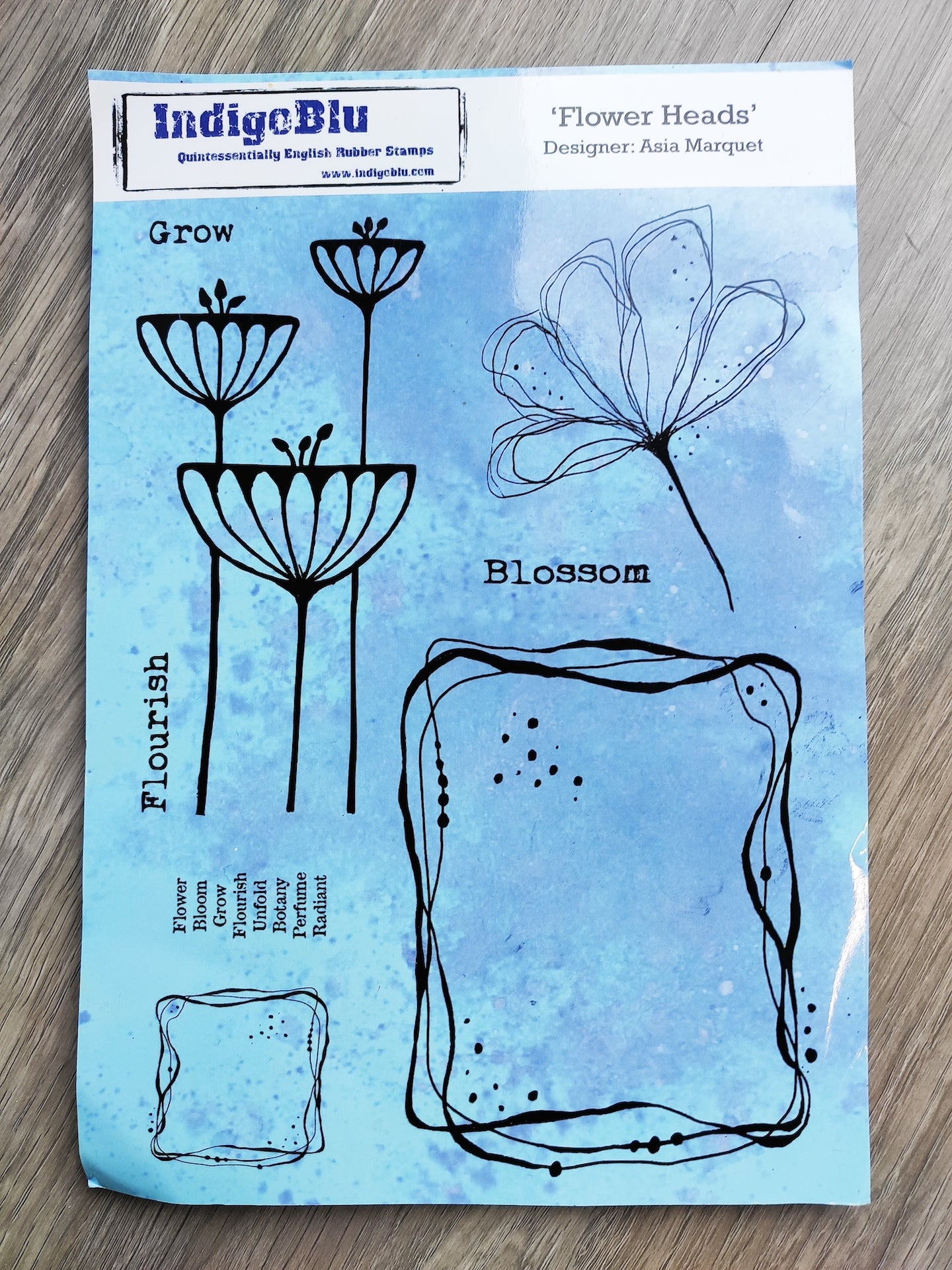 Rubber Stamp- Flower Heads A5