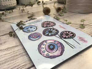 Rubber Stamp- Circle Flowers, A6