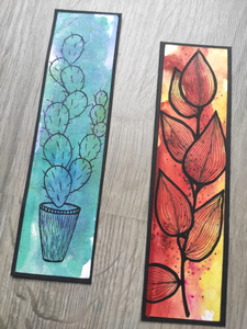 Handmade bookmarks with doodles, set 5