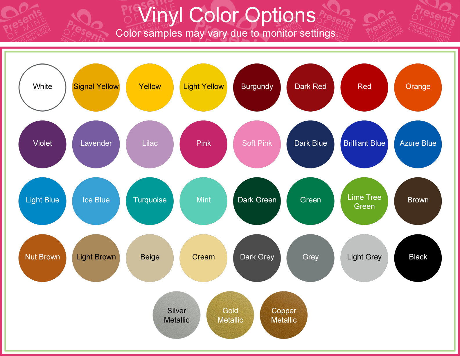 jewelry colors chart personalized and monogrammed gifts presents