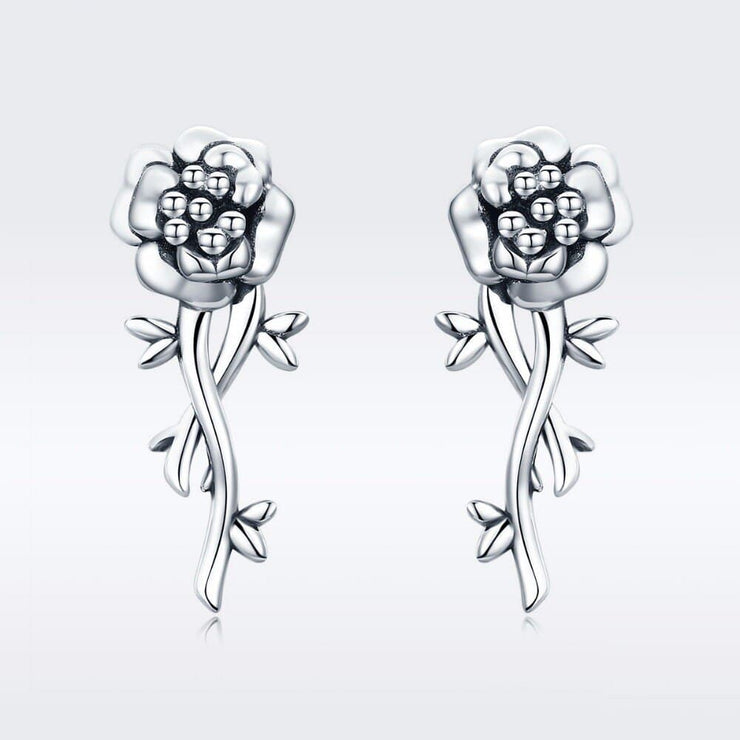 Rose Bud Flower Earrings