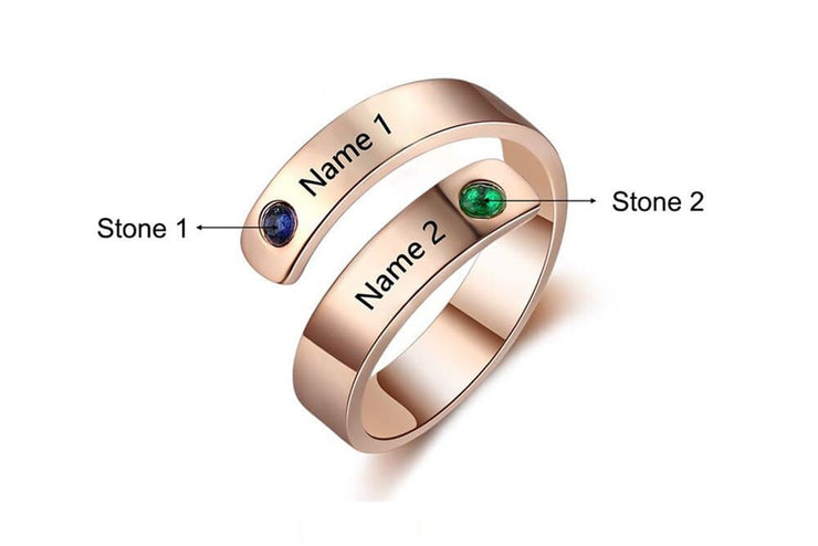 Birthstone Personalized Wrap Ring