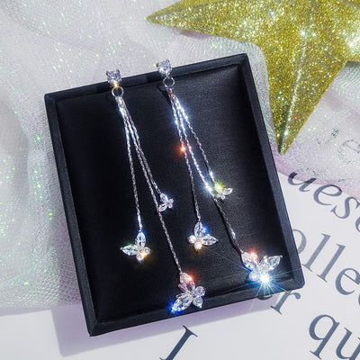Three Butterfly Crystal Drop Earring