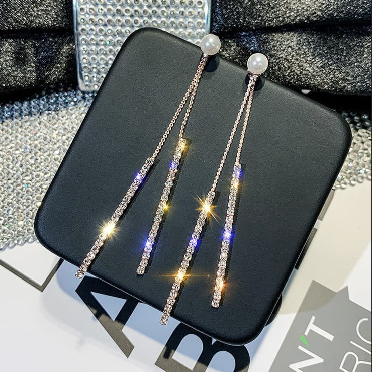 Two Tassel Crystal Drop Earrings
