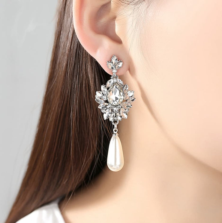Long Dangle Crystal Pearl Earrings