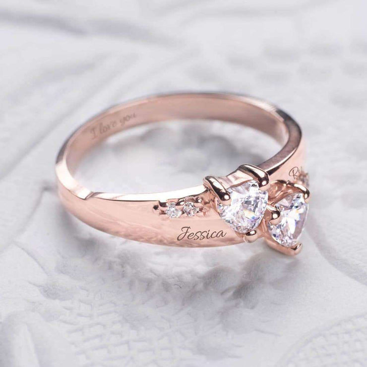 Twin Hearts Promise Ring with Engraving