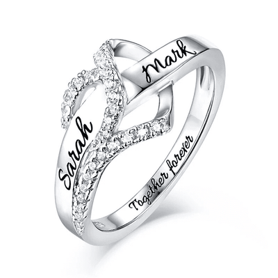Infinity Heart Ring with Engraving