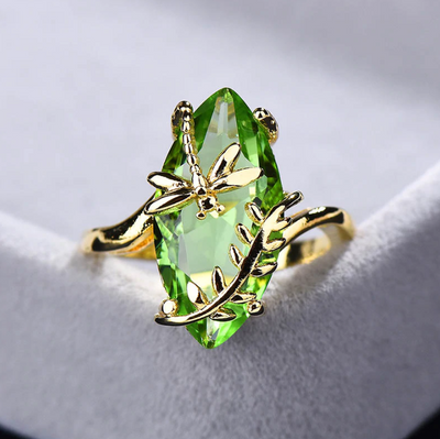 Edwige Emerald Dragonfly Ring