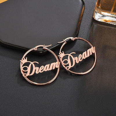 Personalized Name Circle Earrings
