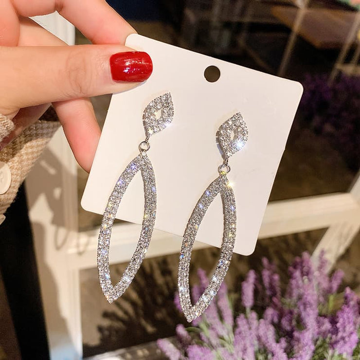 Rihanna Rhinestone Long Tassel Earrings