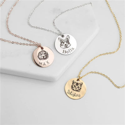 Dog Portrait and Personalized Name Necklace