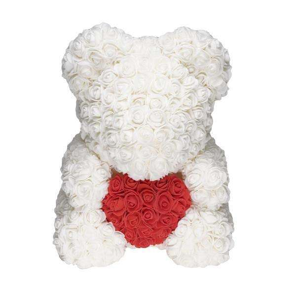 White Love Heart Rose Bear Limited Edition
