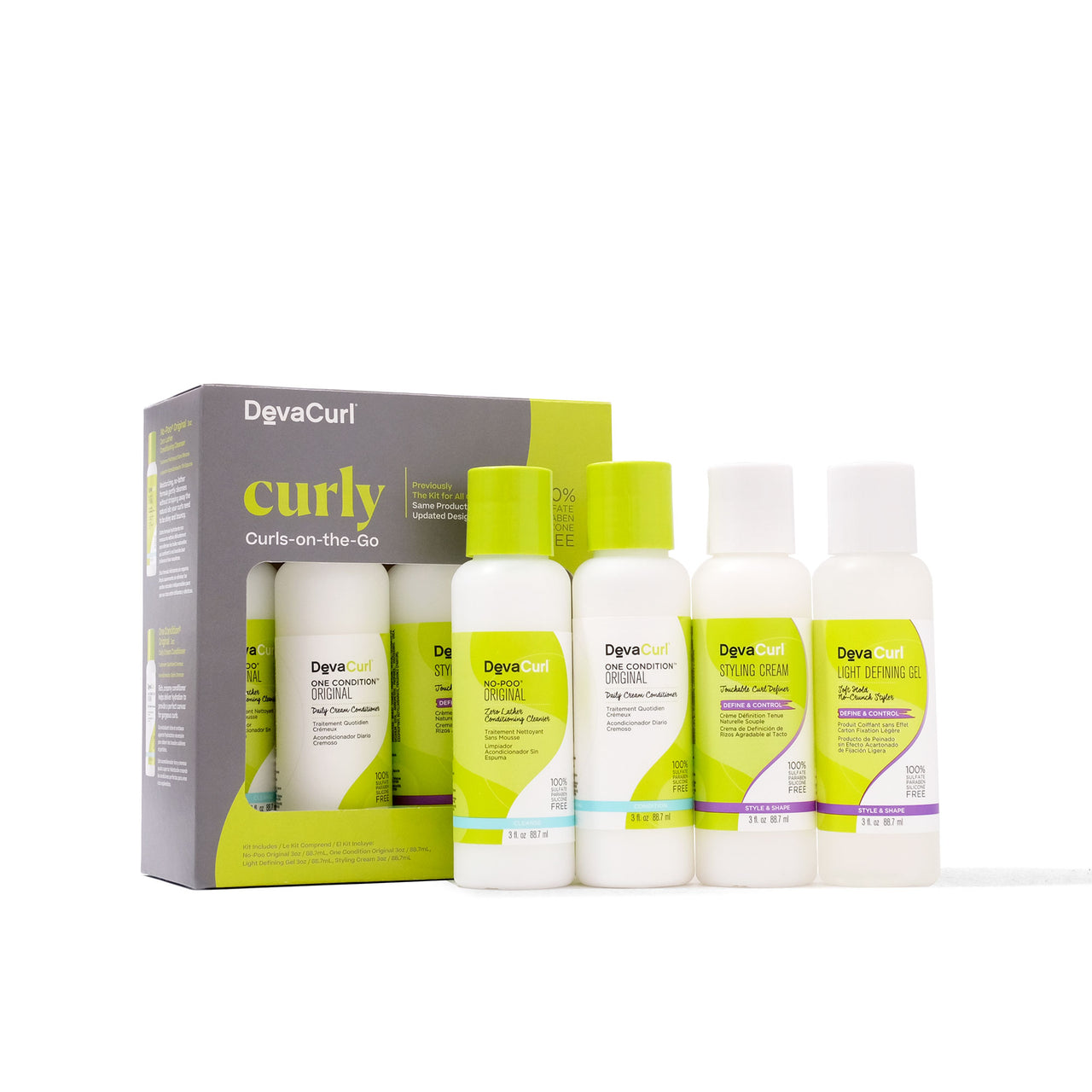 DevaCurl Curly Curls-On-The-Go box and individual bottles version 1