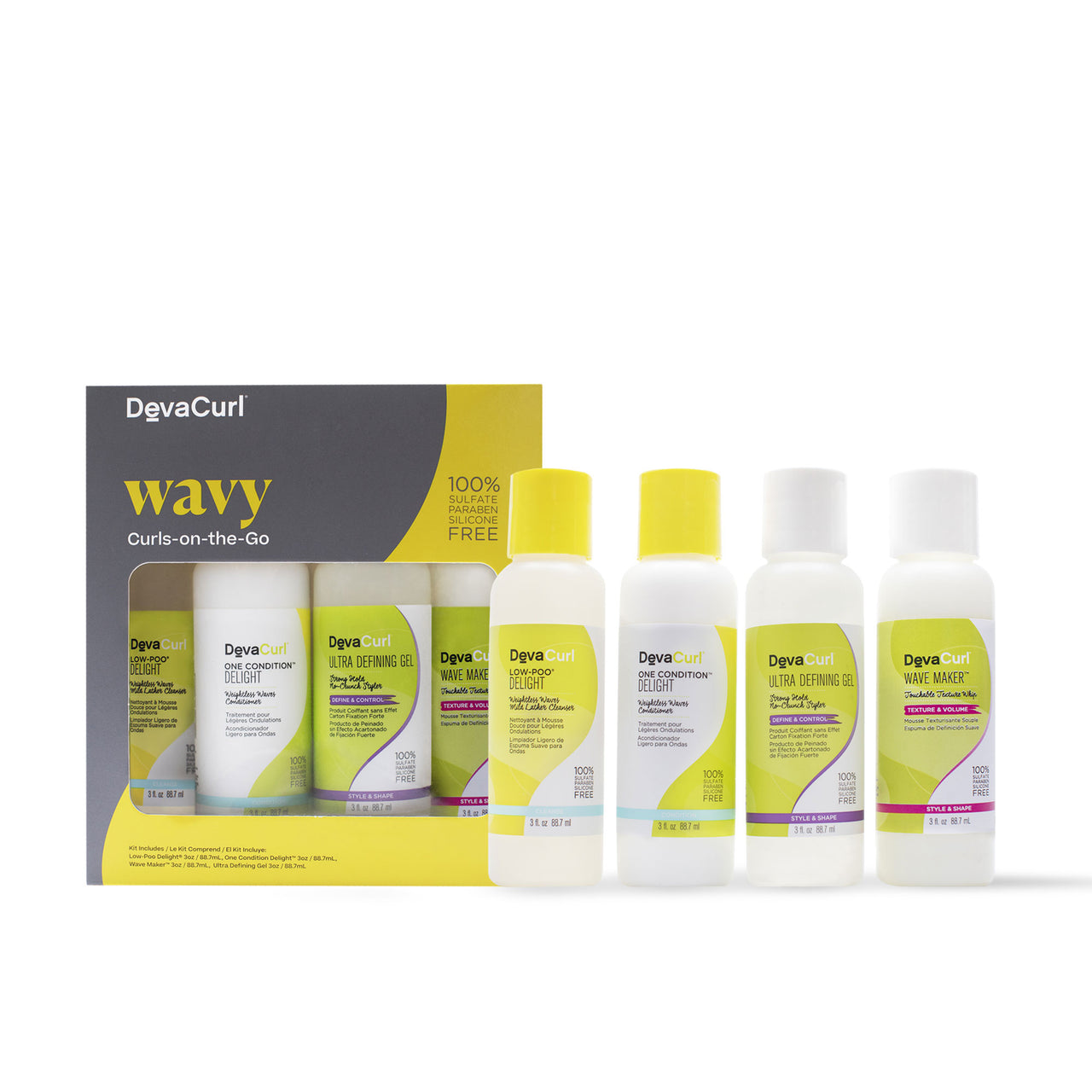 DevaCurl Wavy Curls-on-the-go box and individual bottles version 1