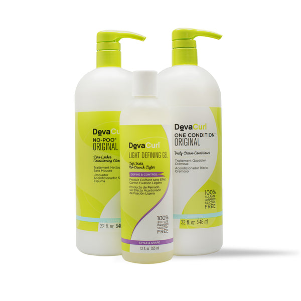 DevaCurl No-Poo Original and Light Defining Gel and One Condition Original