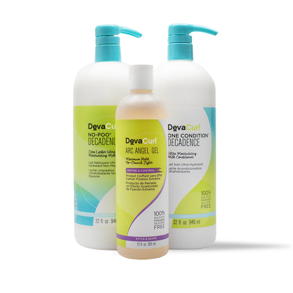 DevaCurl No-Poo Decadence and One Condition Decadence and Arc Angel Gel