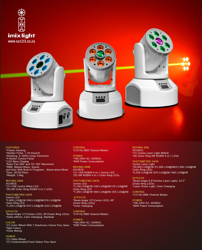 LED Moving Head - Moving-200GL, LED + Green Laser Moving Head