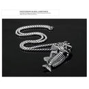 Necklace, NL-F005, Mens Stainless Steel Fish Skeleton Necklace