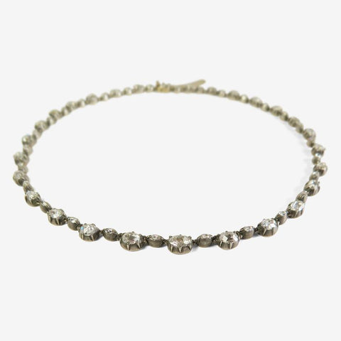 Antique Georgian Revival 15k, Silver, & Rose-Cut Diamonds Collet-Set Riviere Necklace C. Late 19th- Early 20th Century, 18ct
