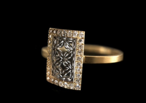 Nikolle Radi's platinum & 18k yellow gold rectangular damask ring with diamond pavé