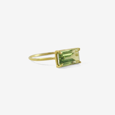 ROSANNE PUGLIESE 18K & EMERALD-CUT PALE GREEN TOURMALINE MINI GEM RING