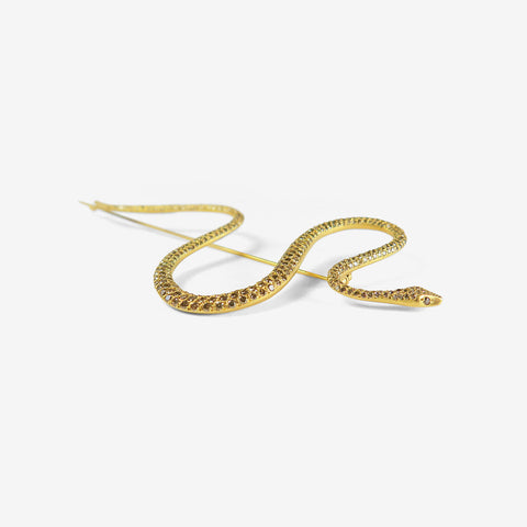 GABRIELLA KISS 18K & CHAMPAGNE DIAMOND PAVE LARGE SNAKE PIN