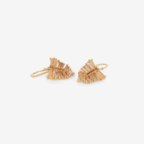 NAK ARMSTRONG 20K & BROWN ZIRCON SMALL LEAF EARRINGS