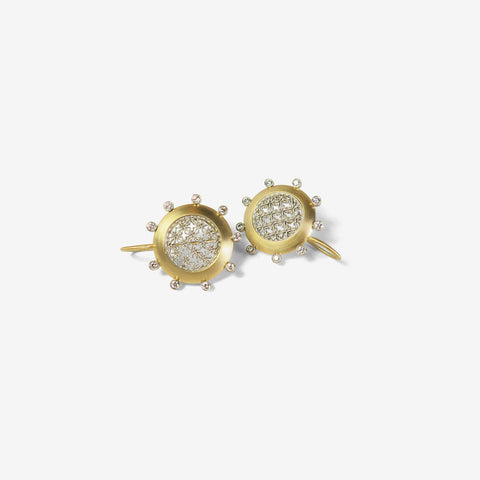 NIKOLLE RADI 18K & PLATINUM ROUND DAMASK EARRINGS WITH WHITE DIAMONDS