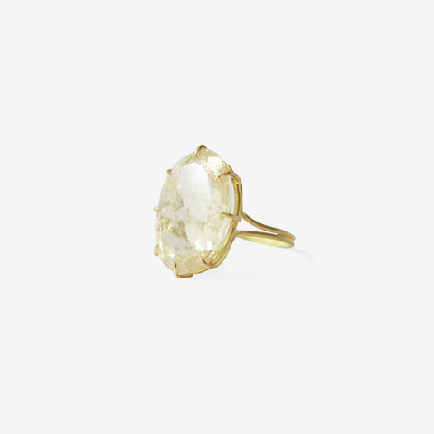 ROSANNE PUGLIESE 18K & FACETED OVAL RUTILATED QUARTZ RING