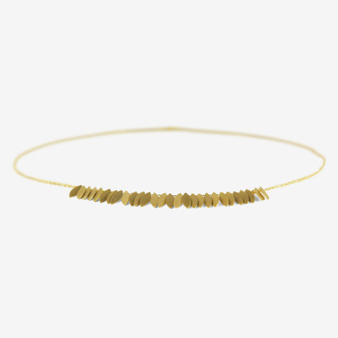 SIA TAYLOR 18K GOLDEN LEAF ARC NECKLACE